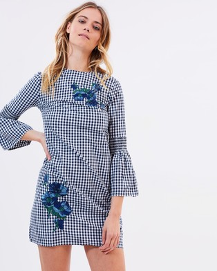 Warehouse – Gingham Embroidered Shirt Dress