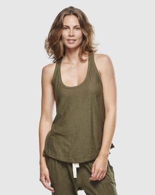 Cloth & Co. Organic Cotton Slub Singlet - T-Shirts & Singlets (Olive)