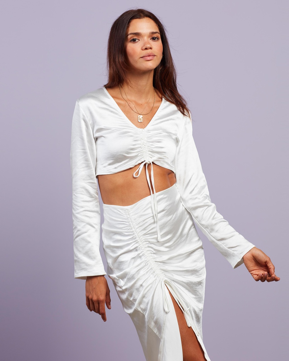 4th & Reckless Lottie Top Cropped tops White Satin