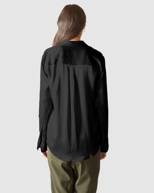 GINIA RTW Hammered Silk Poppy Shirt - Tops (Black Onyx)