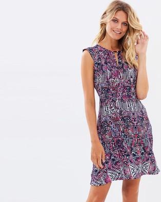 Marcs – Shattered Pixel Print Silk Dress – Dresses (BERRY MULT)