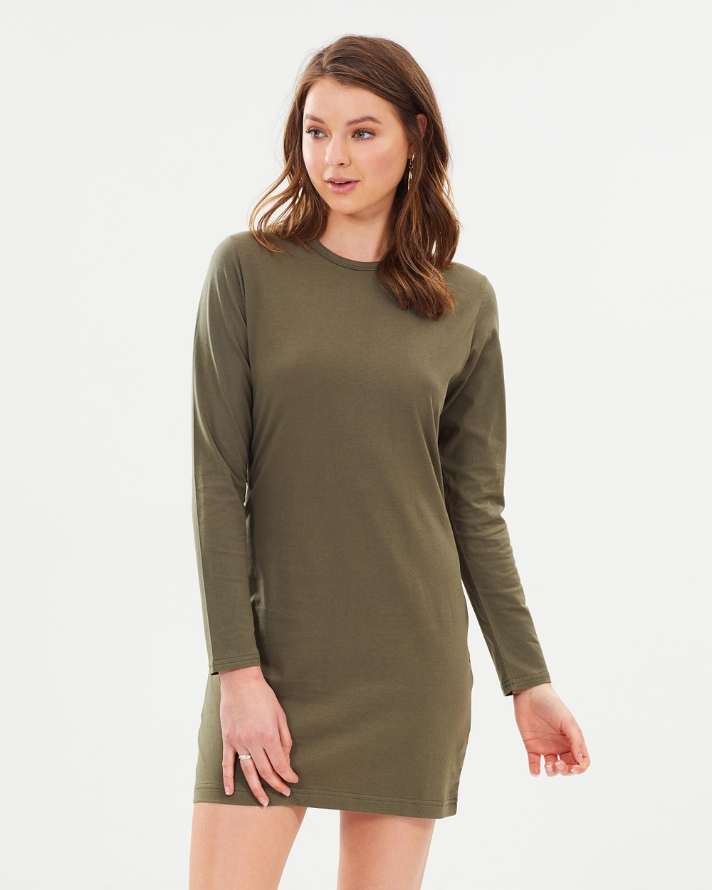 Nude Lucy Pia Long Sleeve Dress Dresses Khaki Pia Long Sleeve Dress
