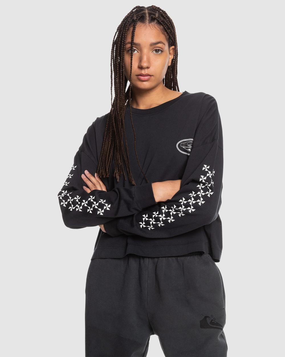 Quiksilver - Womens Fair Organic Long Sleeve T Shirt - Long Sleeve T-Shirts (Black) Womens Fair Organic Long Sleeve T-Shirt