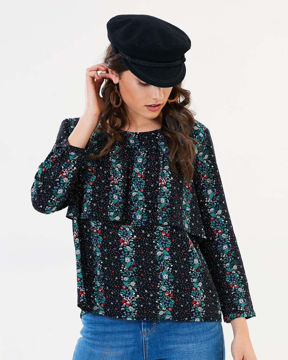 Sass Falling Florals Layered Blouse Tops Falling Florals Print Falling Florals Layered Blouse