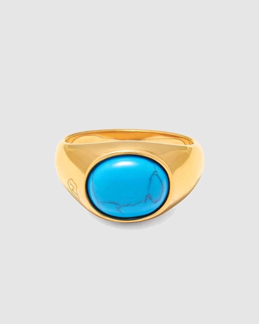 Nialaya Jewellery Men's Signet Ring Turquoise