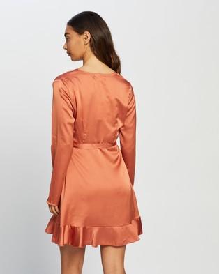 Missguided Ruffle Hem Wrap Tea Dress - Dresses (Rust)