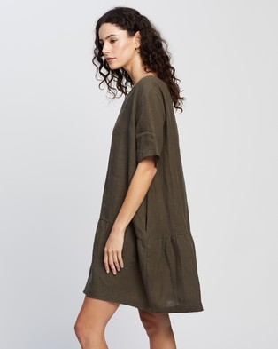AERE Casual Linen Dress - Dresses (Khaki)