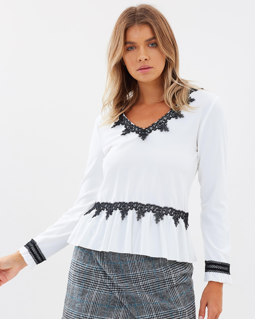 Atmos & Here ICONIC EXCLUSIVE Rosaline Lace Contrast Top Tops Off-White ICONIC EXCLUSIVE Rosaline Lace Contrast Top