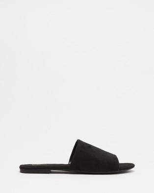 SPURR Adele Comfort Slides Shoes Black Microsuede