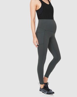 Soon Maternity Sage Side Pocket Active Leggings - Full Tights (GREY)
