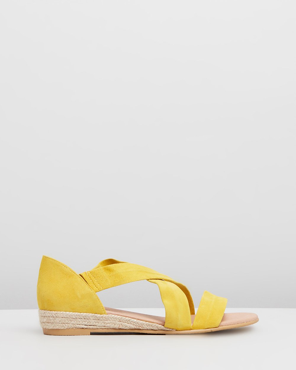 Womens Office Hallie Cross Strap Espadrilles Bright Yellow Suede Sandals