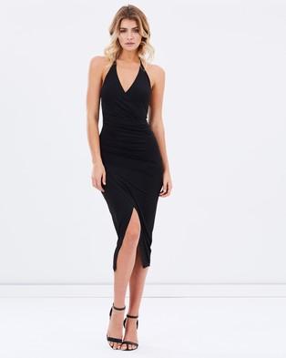 Ivory & Chain – Zenya Slinky Halter Dress – Bodycon Dresses (Black)