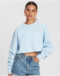 Champion - Reverse Weave Terry Crop Script Crew Sweater