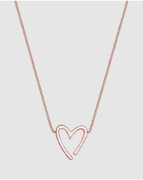 Elli Jewelry - Necklace Heart Pendant Filigree 925 Sterling SilverSilver Rose Gold Plated