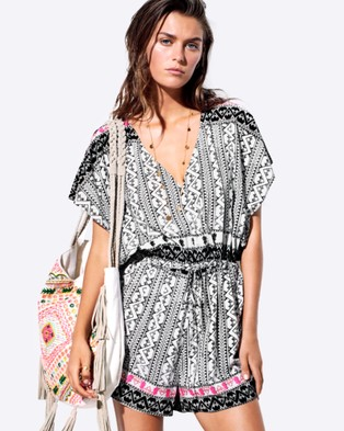 Seafolly – Embroidered Print Playsuit – Jumpsuits & Playsuits (Black)