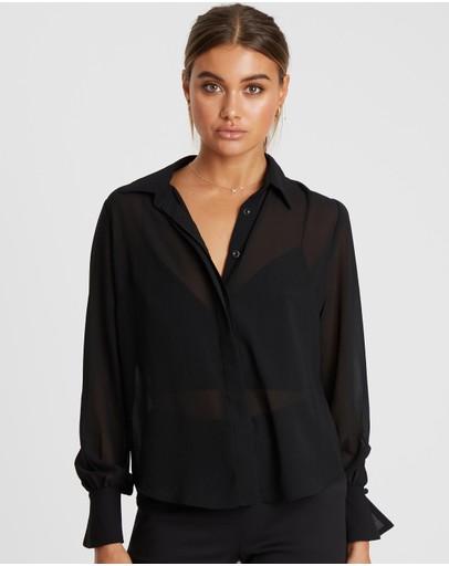 Reux Pierce Pleat Sleeve Shirt Black
