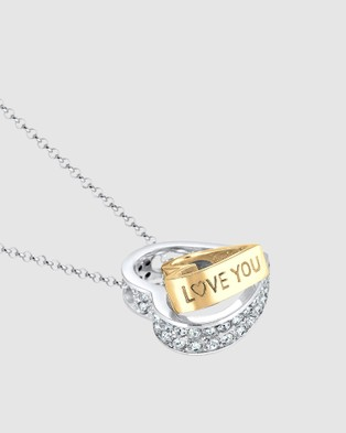 Elli Jewelry Necklace Heart Bi Color with Swarovski® Crystals in 925 Sterling Silver - Jewellery (white)