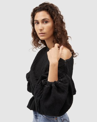 Dominique Healy Anna Frill Blouse Cropped tops Black