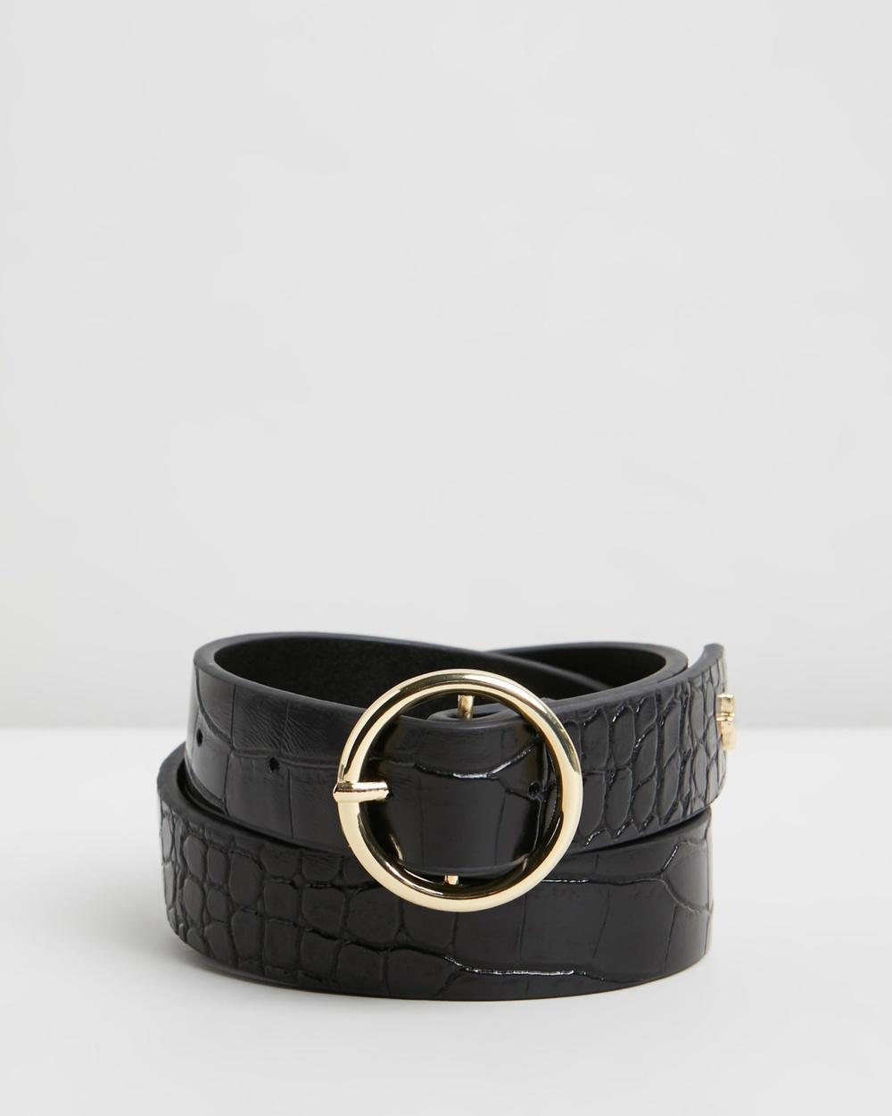 PETA AND JAIN Dayton Buckle Belt Belts Black Croc