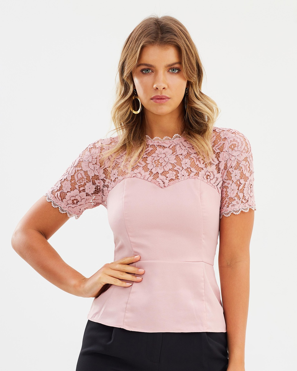 Atmos & Here ICONIC EXCLUSIVE Lainey Lace Contrast Top Tops Dusty Pink ICONIC EXCLUSIVE Lainey Lace Contrast Top