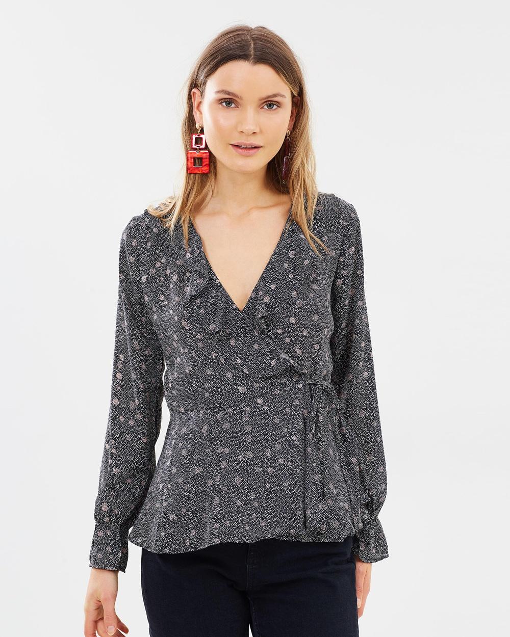 Vero Moda Ciao Long Sleeve Wrap Shirt Tops Black Ciao Long Sleeve Wrap Shirt