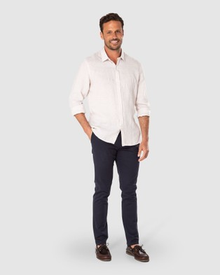 Australia Gazman Tailored Fit Linen Plain Long Sleeve Shirt - Shirts & Polos (Cashew)
