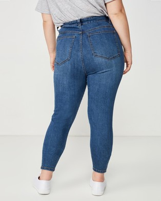 Cotton On Curve Curve Adriana High Skinny Jeans - High-Waisted (Blue)