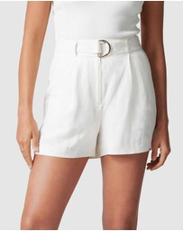 Forever New - Clara Belted D-ring Linen Blend Shorts