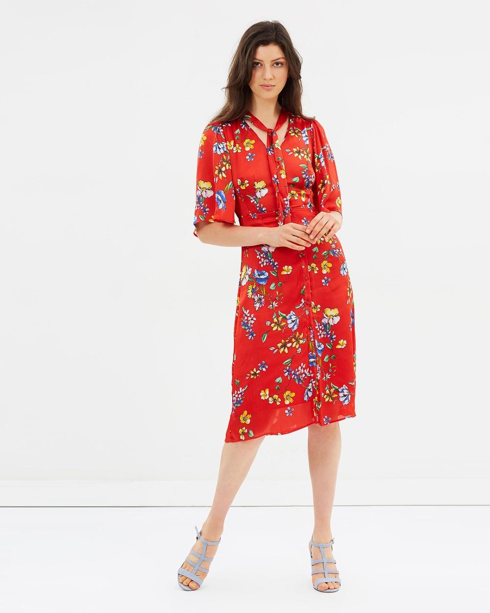 M.N.G Mariam Dress Printed Dresses Red Mariam Dress