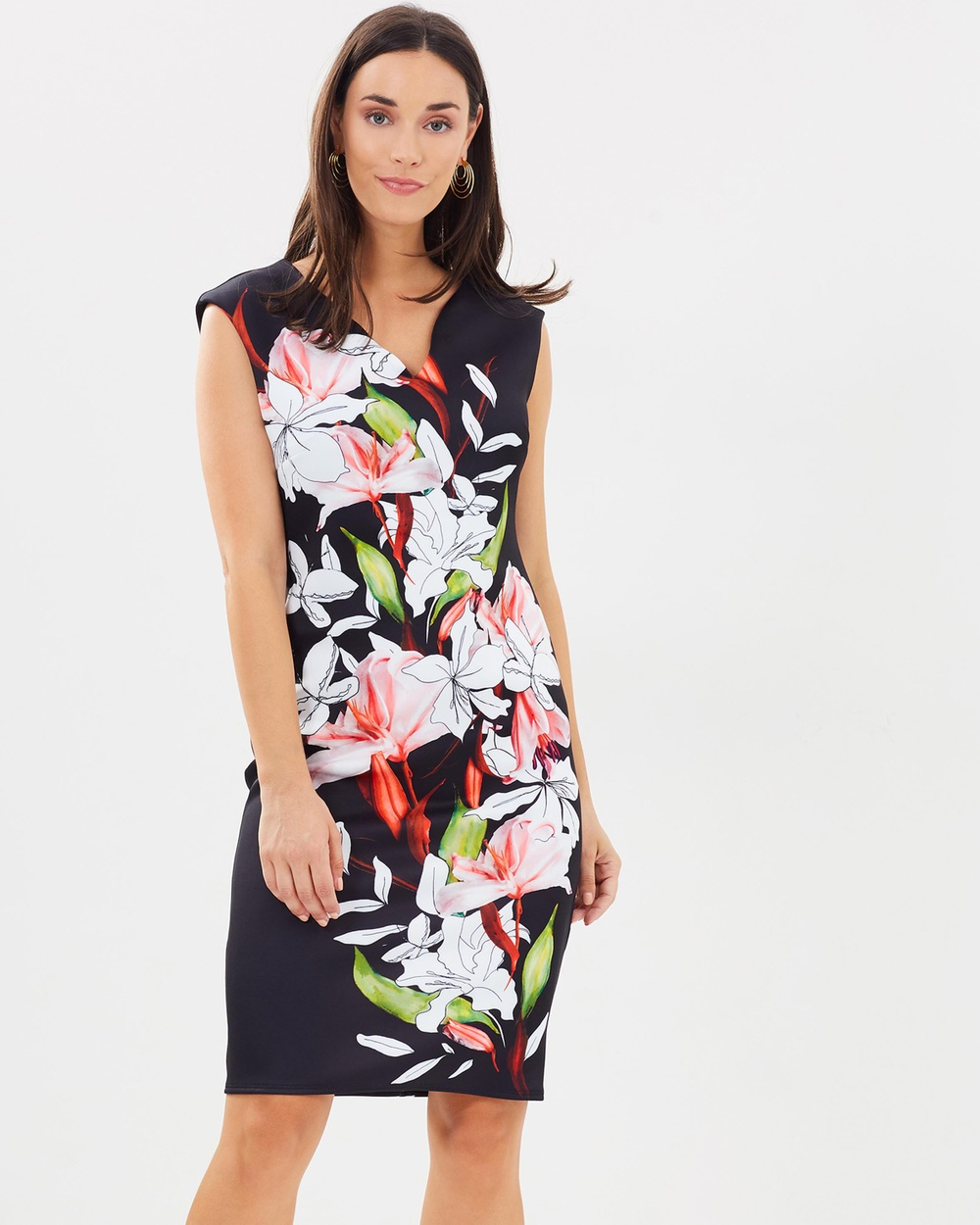 Wallis Spring Lily Scuba Dress Printed Dresses Black Spring Lily Scuba Dress