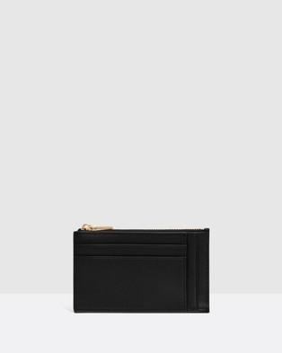 Oroton Petra Four Card Mini Zip Pouch - Wallets (Black)