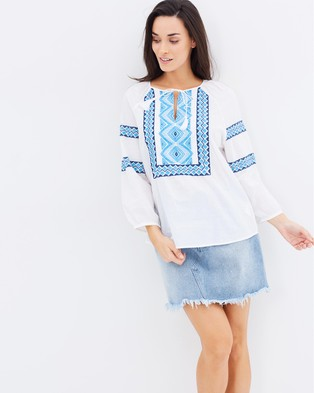 Seafolly – Folk Embroidered Top White