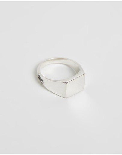 Heart Of Bone Square Signet Ring Silver