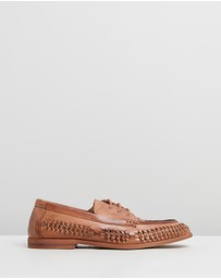 Staple Superior - Morata Woven Leather Lace-Up Moccasins