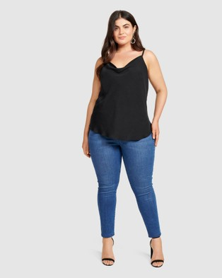 Forever New Curve Mariah Cowl Neck Curve Camisole - Tops (Black)