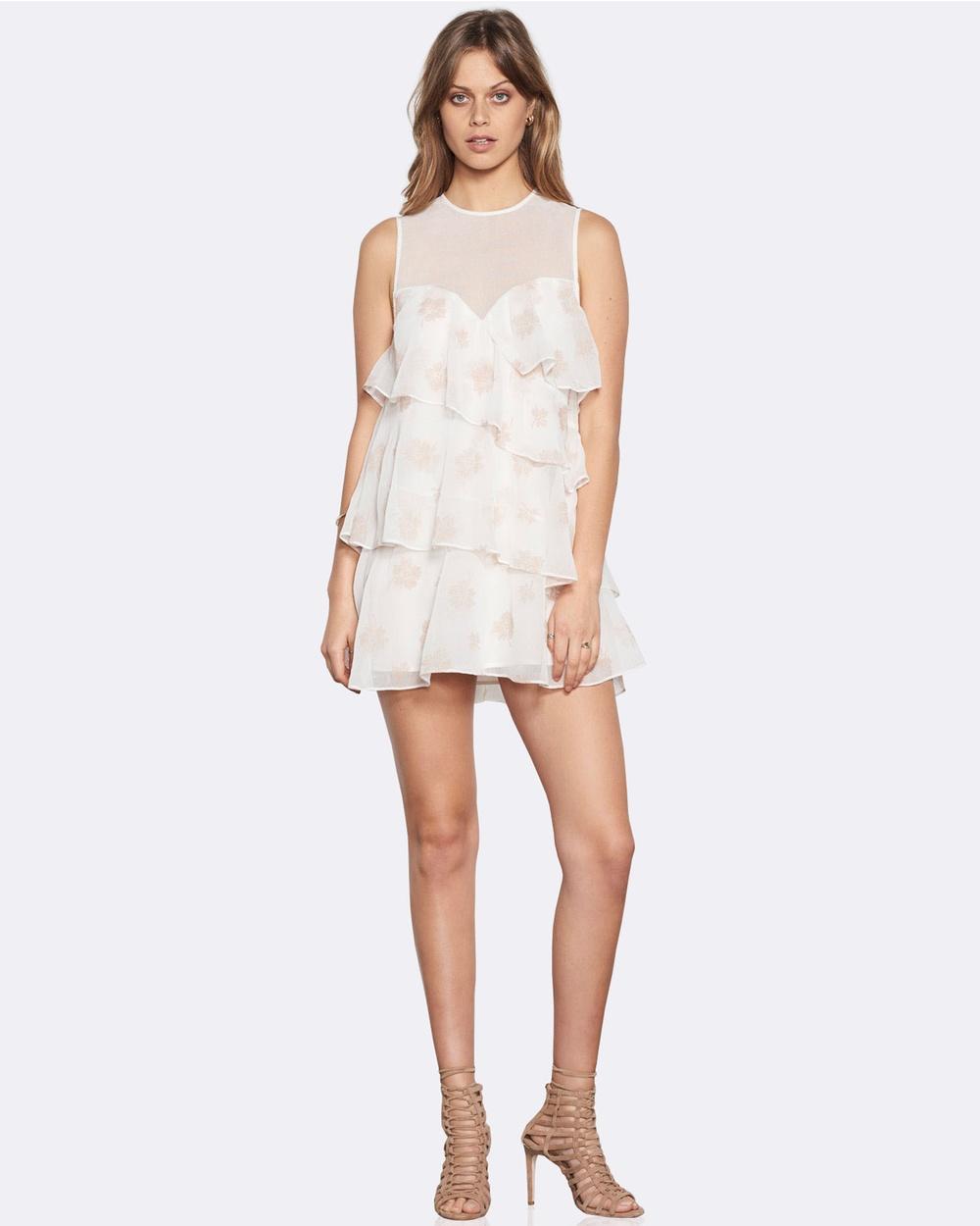Stevie May Nostalgia Mini Dress Printed Dresses White Nostalgia Mini Dress