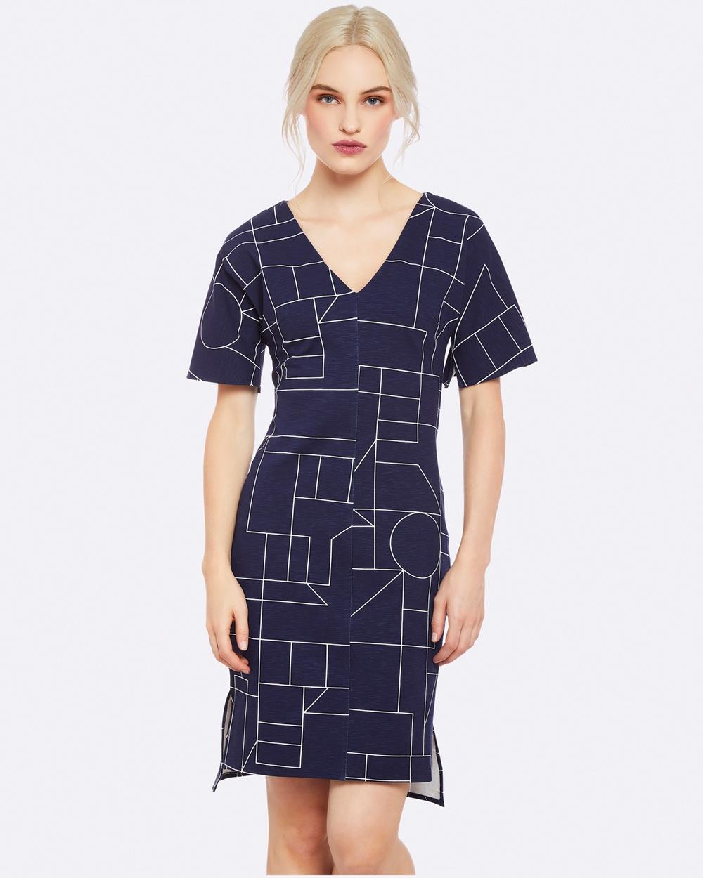 Oxford SCOTIE GEO PONTI DRESS NAVY WHITE Dresses Blue SCOTIE GEO PONTI DRESS NAVY-WHITE
