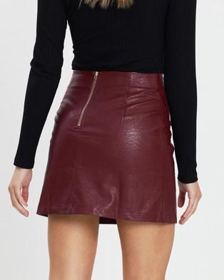 Atmos&Here Elora Mini Skirt - Leather skirts (Burgundy)