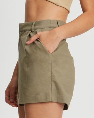 The Fated Estelle Shorts - High-Waisted (Khaki)