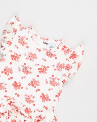 Cotton On Baby Alice Ruffle Bubbysuit   Babies - Bodysuits (Vanilla & Smoked Salmon Mini Retro Floral)