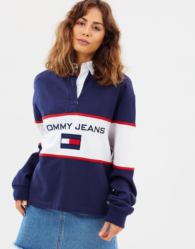 12093ab881b 90s Blocked Rugby Shirt By Tommy Jeans The Iconic Australia