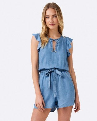 Forever New – Jac Frill Playsuit Mid Wash