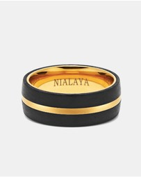 Nialaya Jewellery - Men's Carbon Fiber Ring with Gold Detail