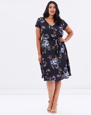 DP Curve – Curve Floral Dress – Dresses (Navy)