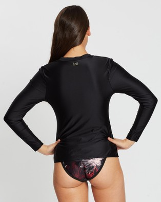 Duskii Oc??ane Long Sleeve Plunge Rash Top - Swimwear (Black)