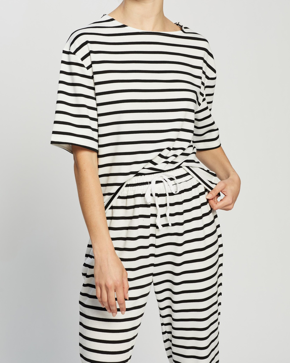 Atmos&Here - Nadia Relaxed Tee - T-Shirts & Singlets (Black & White Stripe) Nadia Relaxed Tee
