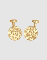 Kuzzoi - Cufflinks Platelet Round Hammered Texture in 925 Sterling Silver Gold Plated