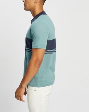 Brixton Shield Stripe X Knit SS Polo - Shirts & Polos (Ocean & Washed Navy)
