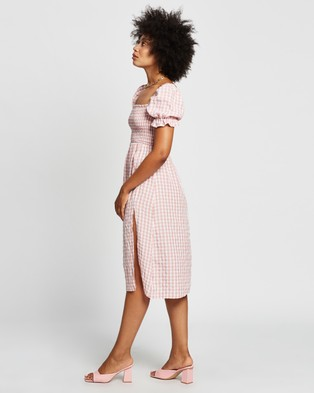 REVERSE Puff Sleeve Midi Dress - Dresses (Pink)