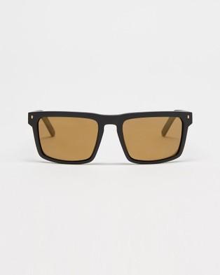 UNIT Primer Polarised Sunglasses - Square (Matte Black & Gold)